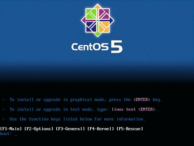 CentOS Install Menu